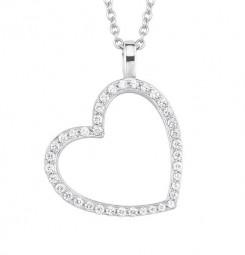 Halskette mit Herzanhänger und Zirkoniabesetzung