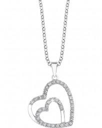 Halskette mit Doppelherz-Anhänger und Zirkoniasteinen