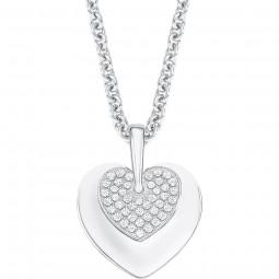Halskette mit Anhänger in Herzoptik und eingefügtem Herz aus Zirkoniasteinen